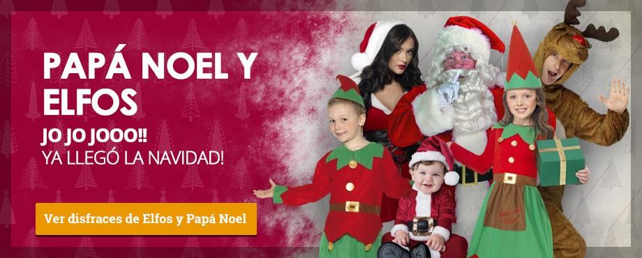Disfraces de elfos, elfas, papá Noel, mamá Noel, Santa Claus y el reno rudolf
