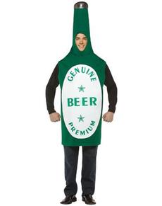 Disfraz de botella de cerveza verde