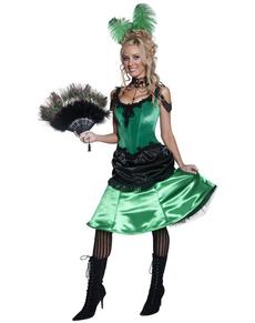 Disfraz de dama de burdel verde Deluxe
