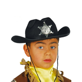 Sombrero sheriff infantil negro