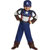 Disfraz de mini Capitán América Soldado de Invierno retro musculoso para niño