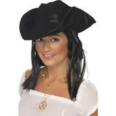 Sombrero de pirata con aspecto de cuero negro - Pack de 3