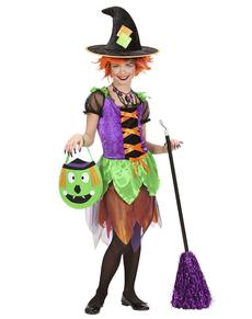 Disfraz de bruja colorida para niña