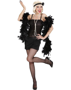 Disfraz de cabaret años 20 negro para mujer