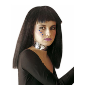 Perruque noire épaule frange droite